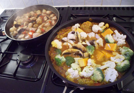 cooking veggie curry